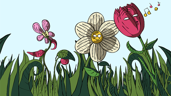 Hand-drawn cartoon funny illustration of flowers in the field.