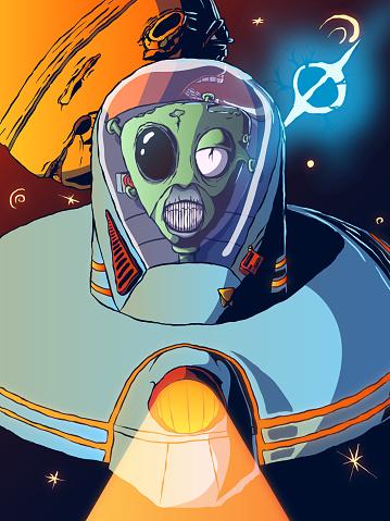 Hand-drawn cartoon futuristic illustration - Alien in a flying saucer