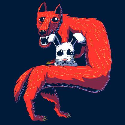 Hand-drawn cartoon illustration - Fox and Hare.