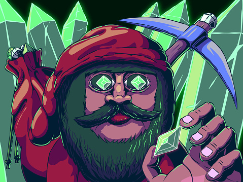 Hand-drawn cartoon illustration - Gnome in a cave with gems or crystals.