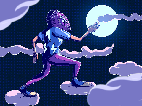Hand-drawn cartoon illustration of a fictional character running through the clouds.
