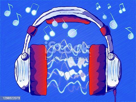 istock Hand-drawn cartoon illustration on a musical theme. 1256522073