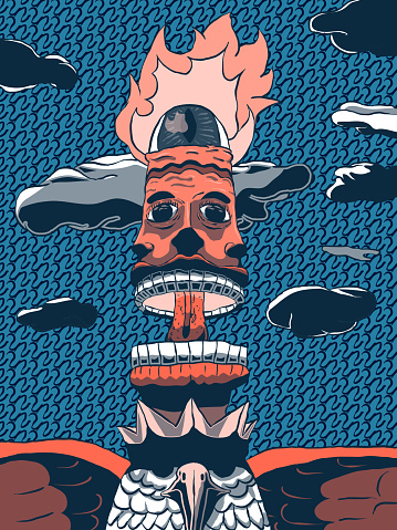 Hand-drawn cartoon vector illustration - Magic Burning Totem.