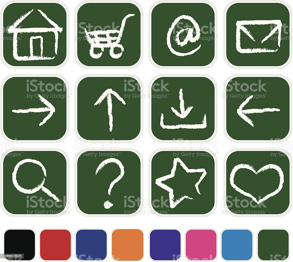 Hand-Drawn Chalk and Chalkboard Icons with Extra Blanks royalty-free stock vector art