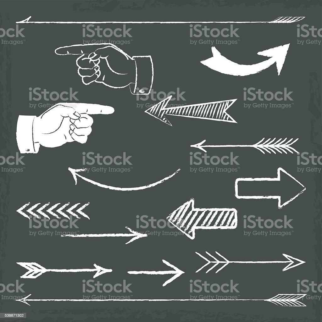 黒板に手書きの矢印 ベクターアートイラスト