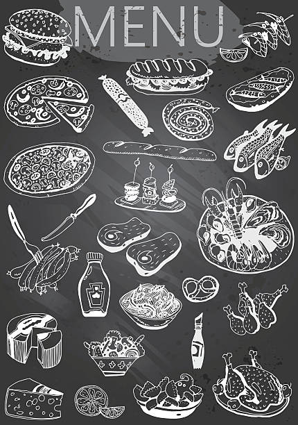 Hand-drawn chalkboard menu vector art illustration