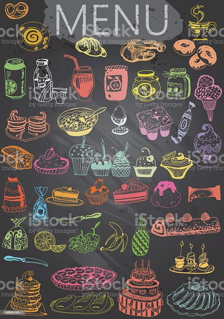 Hand-Drawn Chalkboard Menu with Desserts Food and Drink royalty-free handdrawn chalkboard menu with desserts food and drink stock illustration - download image now