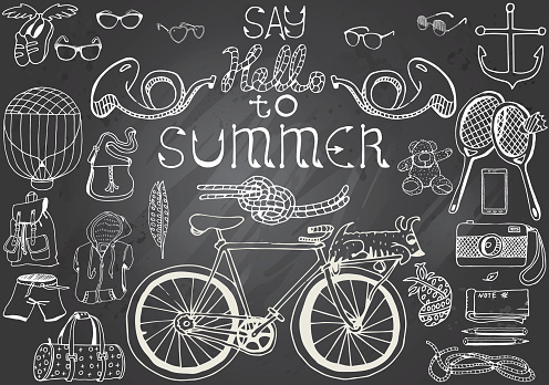 Hand-drawn chalkboard with Summer Objects Set and text