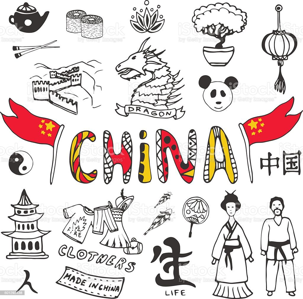 Handdrawn china icon collection set with asian culture symbol set with asian culture symbol royalty free handdrawn biocorpaavc