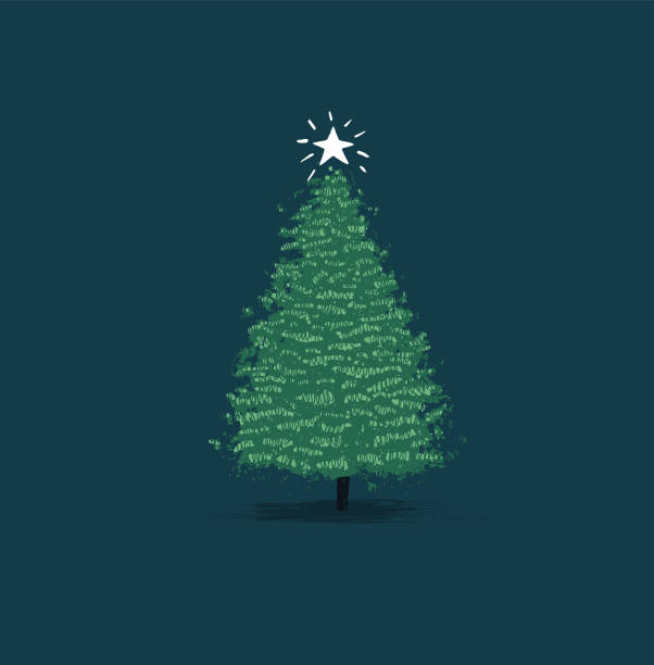 hand-drawn Chrismas tree, christmas card vector art illustration