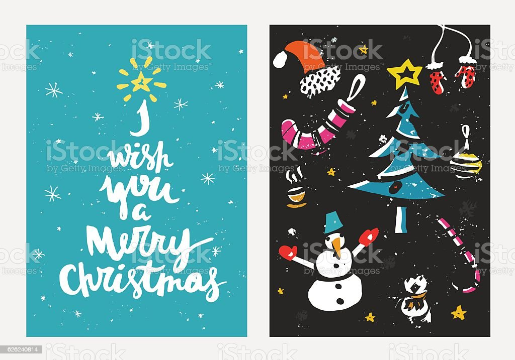 hand drawn christmas cards with unique ink texture vector holiday theme royalty