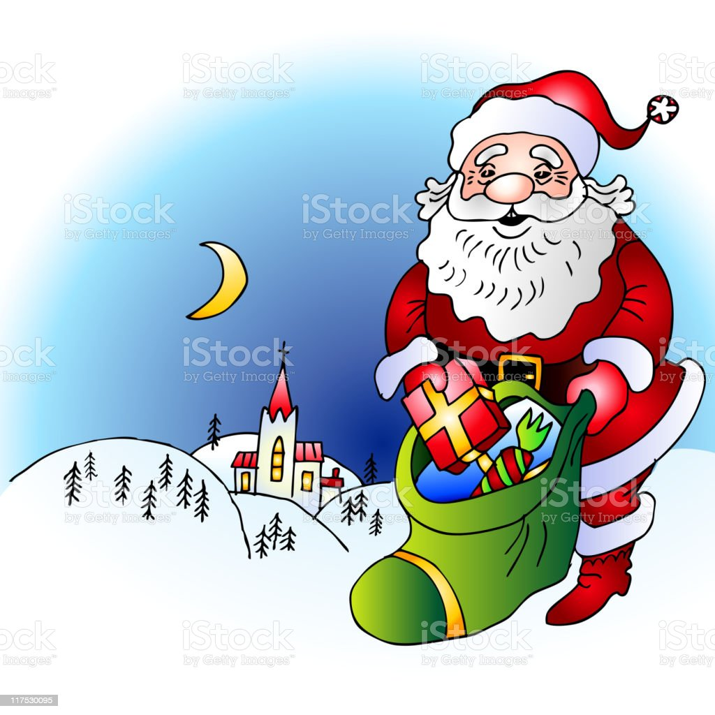 royalty free santa claus church bag pencil drawing clip art vector rh istockphoto com christmas nativity scene clipart christmas scene clipart free