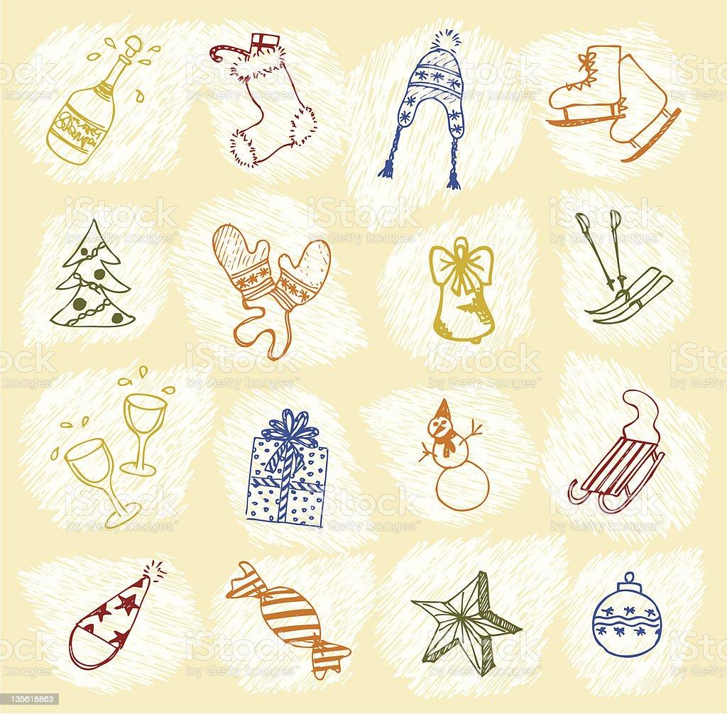 Hand-drawn Christmas icons royalty-free stock vector art