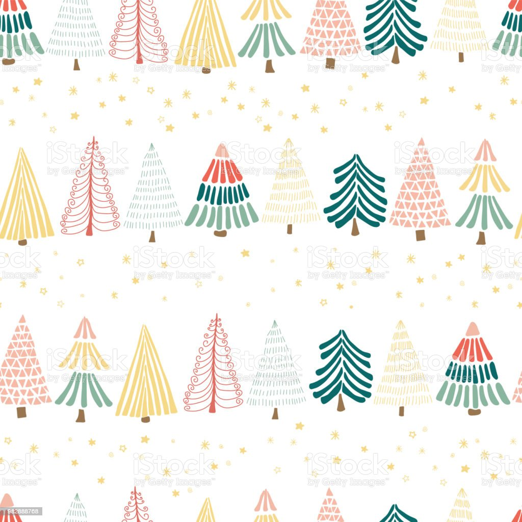 Hand-drawn christmas trees in a row and stars on a white background. Seamless vector pattern. vector art illustration