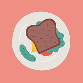 Hand-drawn color vector icon of sandwich on plate