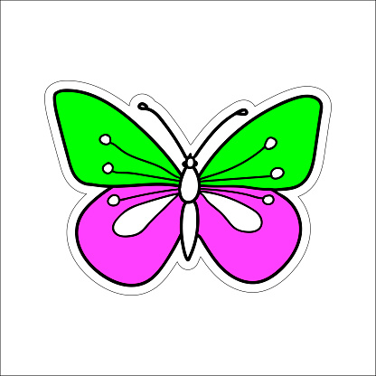 Hand-drawn colored vector illustration of one butterfly is flying on a white background