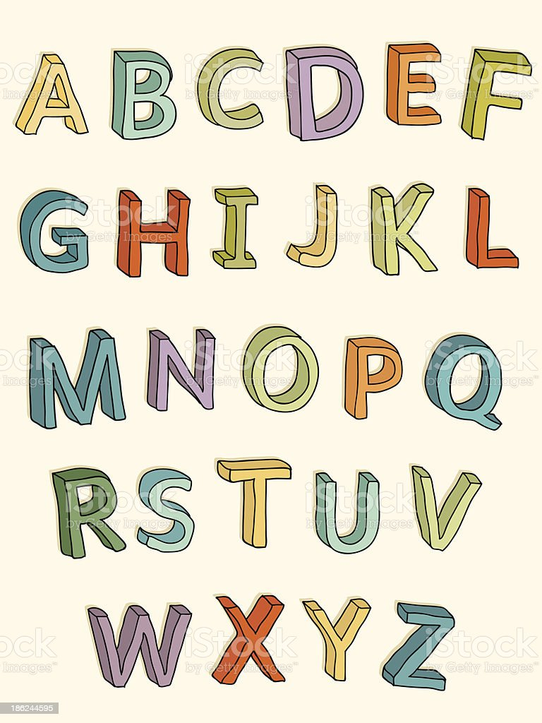 Hand-drawn colorful 3D uppercase letters vector art illustration