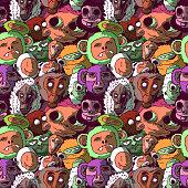 Hand-drawn colorful cartoon seamless illustration - Funny monkeys.