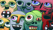 Hand-drawn comic book illustration - Funny anthropomorphic faces.