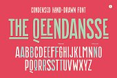Hand-drawn condensed alphabet and font. Tall and thin uppercase letters and alternative characters. Hand-drawn sketch narrow sans serif font The Qeendansse, part One. Vector Illustration