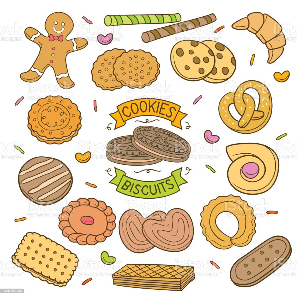 Handdrawn cookies and Biscuits vector art illustration