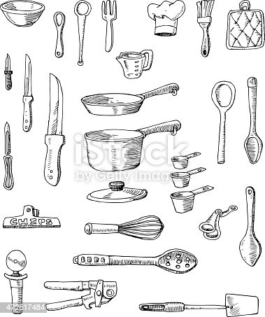 A set of hand-drawn cooking utensils, pots and pans.