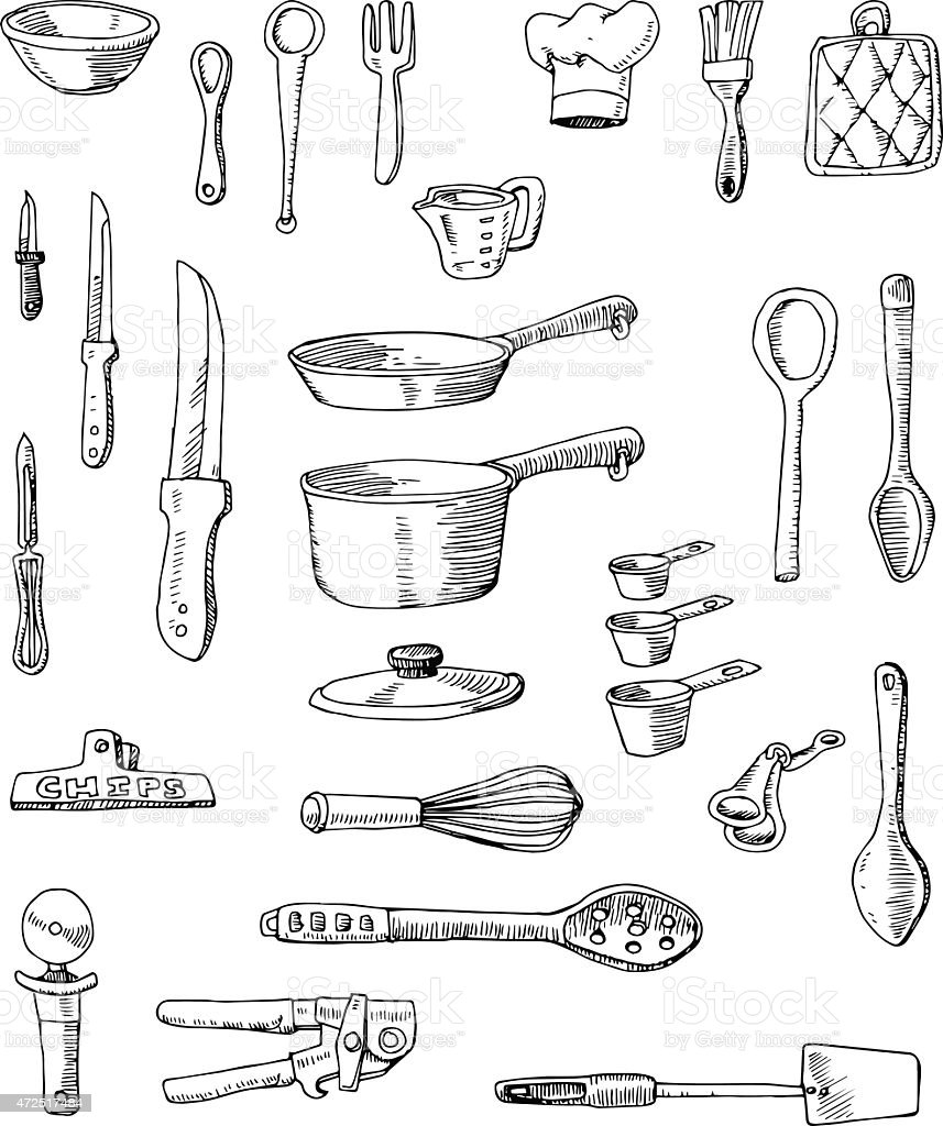 Hand-drawn Cookware Illustrations vector art illustration