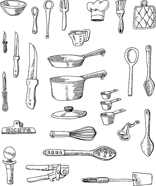 Hand-drawn Cookware Illustrations A set of hand-drawn cooking utensils, pots and pans.  measuring cup stock illustrations