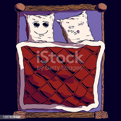 istock Hand-drawn cute cartoon bed illustration - Pillows with cute faces. 1257828466