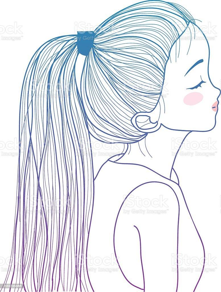 手描きのかわいい女の子ポニーテール イラストレーションのベクター