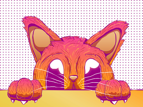 Hand-drawn cute illustration - Cat peeking from the table
