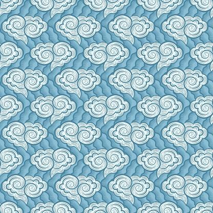 Hand-drawn decorative clouds seamless pattern