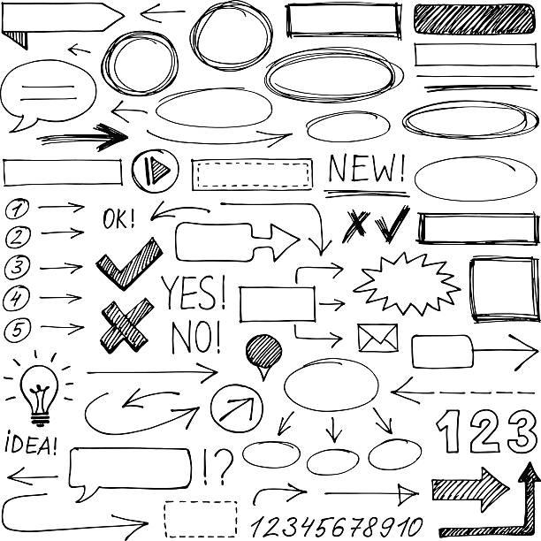 ręcznie rysowane elementy projektu - bazgroły rysunek stock illustrations