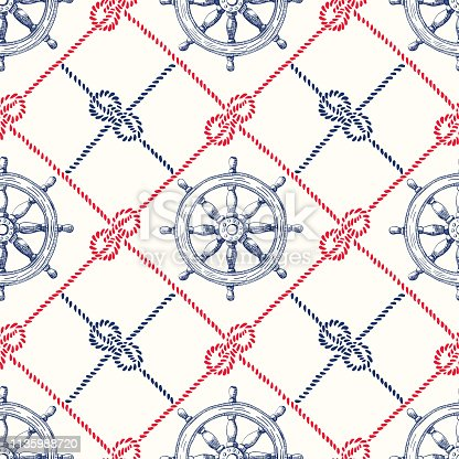 Hand-Drawn Diagonal Plaid with Sailing Ropes, Zeppelin Knotsand Vessel Steering Wheel Vector Seamless Pattern. Blue and Red Nautical Marine Backrgound. Sea, Ocean Elements.