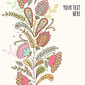 Hand-drawn doodle floral pattern, abstract leaves and flowers