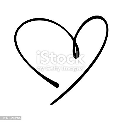 Hand drawn vector heart line art on white background