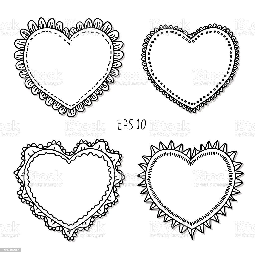 Handdrawn Doodles Heart Label Frames On Isolated White Backgrounds ...