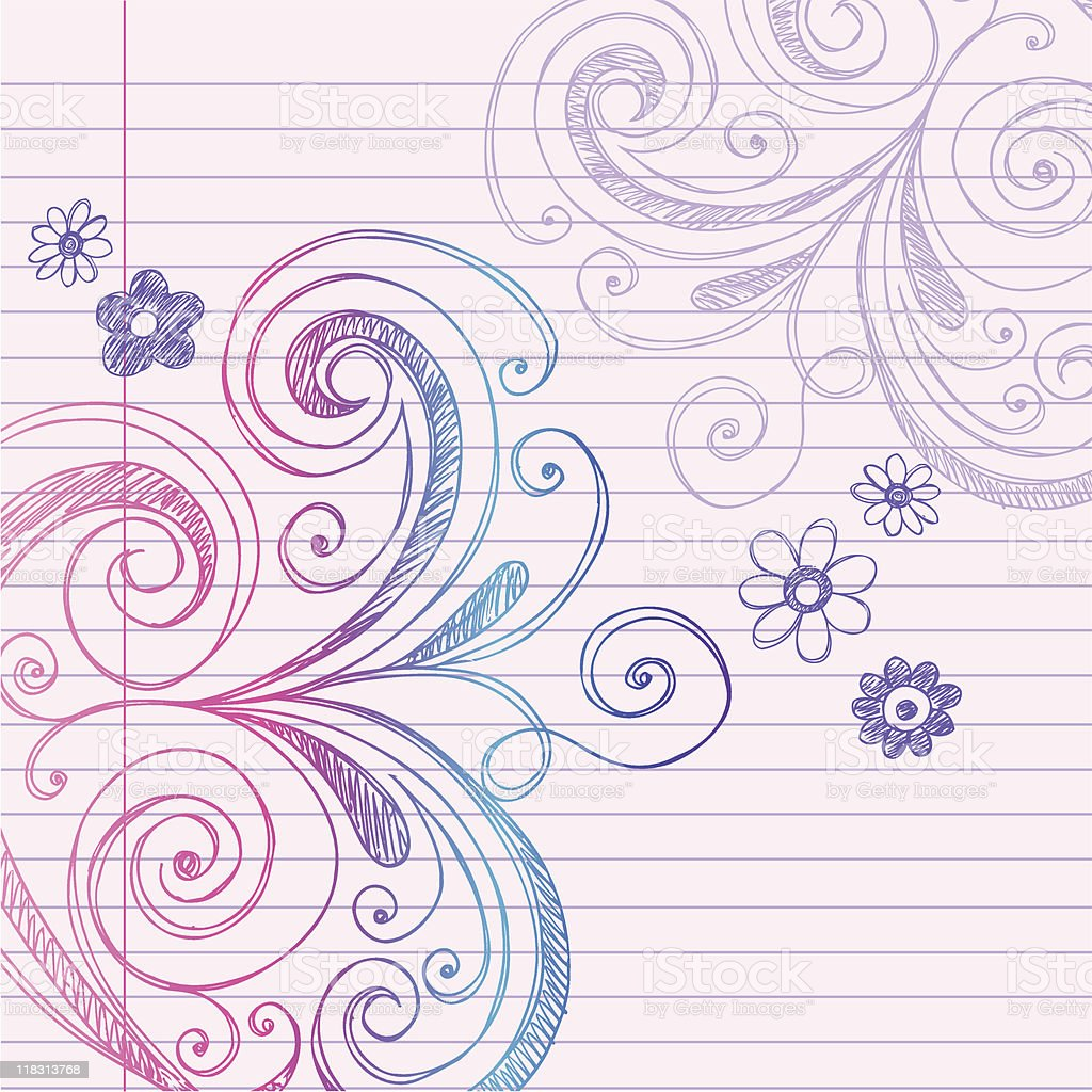 Hand-Drawn Doodles on Notebook Paper royalty-free stock vector art