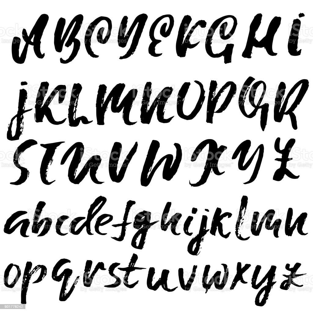 handdrawn dry brush font modern brush lettering grunge style