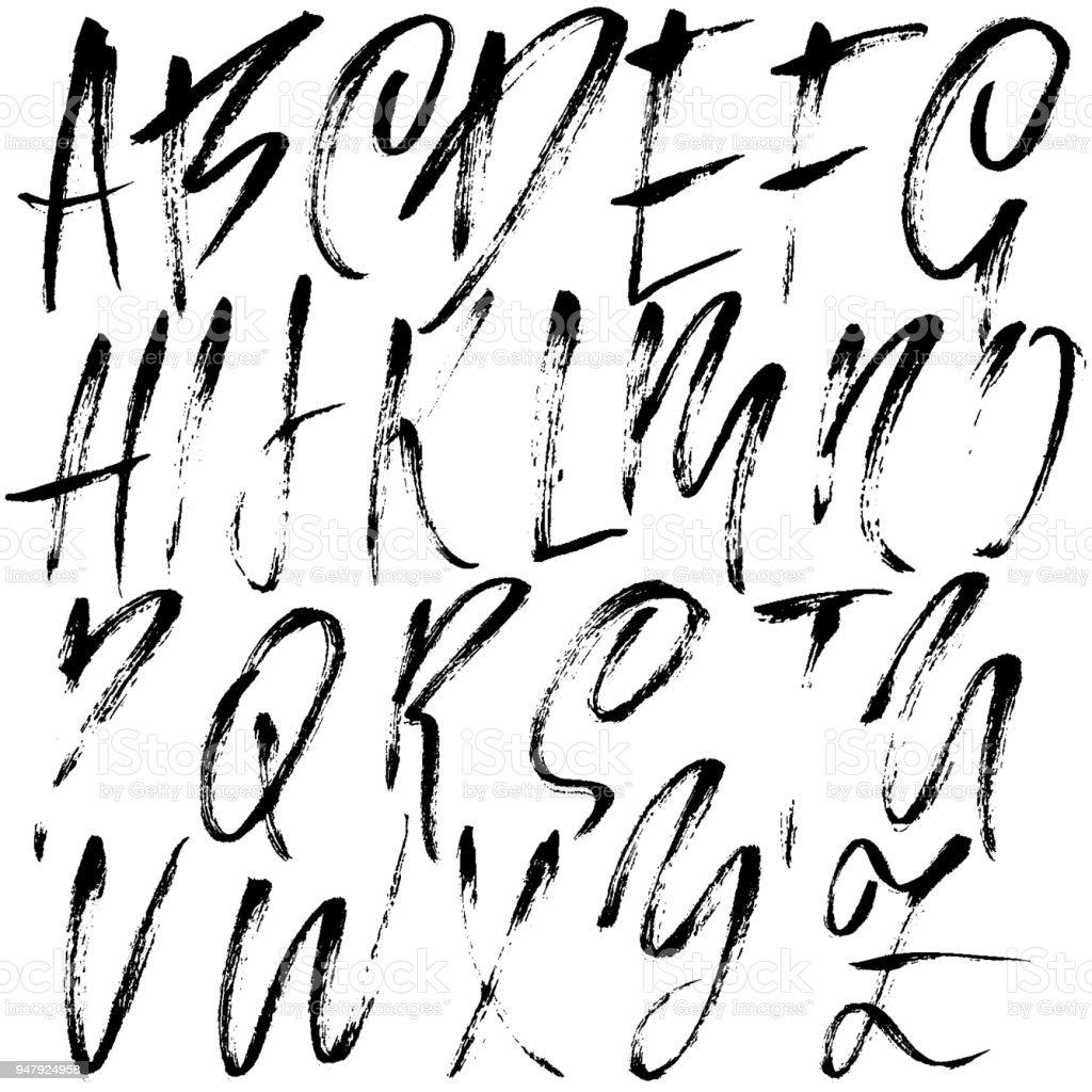 Handdrawn Dry Brush Font Modern Lettering Grunge Style Alphabet Vector Illustration