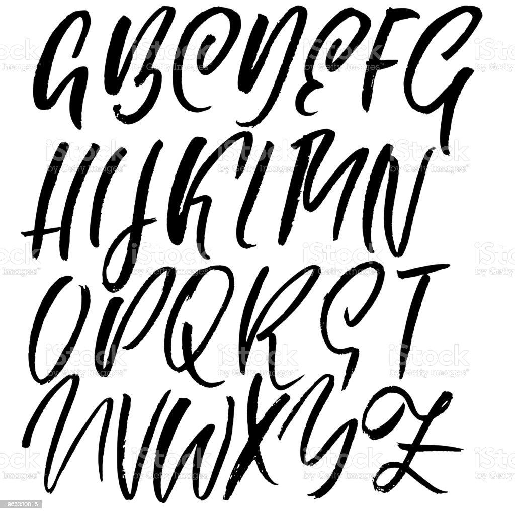 Handdrawn dry brush font. Modern brush lettering. Grunge style alphabet. Vector illustration. handdrawn dry brush font modern brush lettering grunge style alphabet vector illustration - stockowe grafiki wektorowe i więcej obrazów alfabet royalty-free