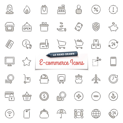 Hand-Drawn E-commerce Icons