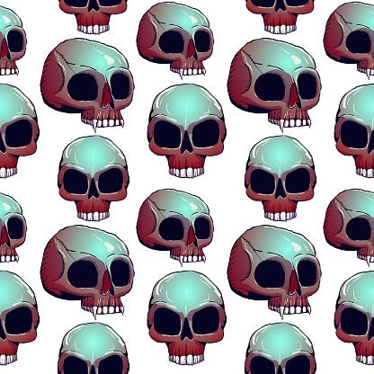 Hand-drawn eerie seamless illustration - Skulls.