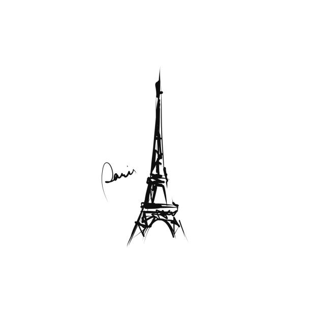 Hand-drawn Eiffel tower Sketch, vector paris black and white stock illustrations