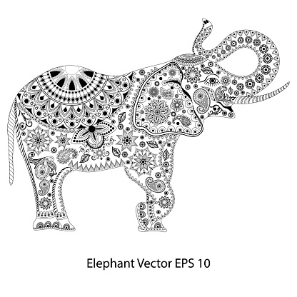 Hand-drawn elephant with ethnic floral doodle pattern. Coloring page - , design for meditation, relaxation for adults, vector illustration, isolated on a white background.