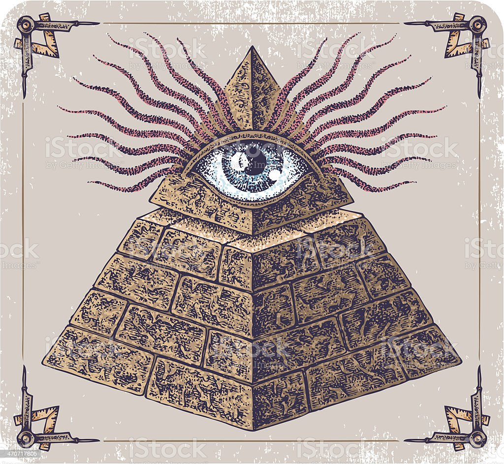 Hand-drawn Eye of Providence. royalty-free stock vector art
