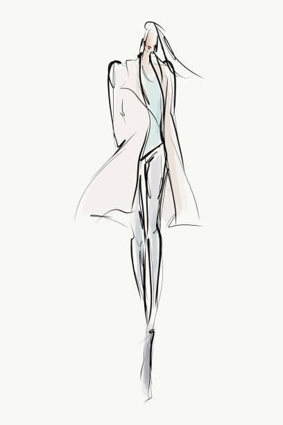 el çizimi moda illustration. genç şık kadın, kız, model - fashion stock illustrations