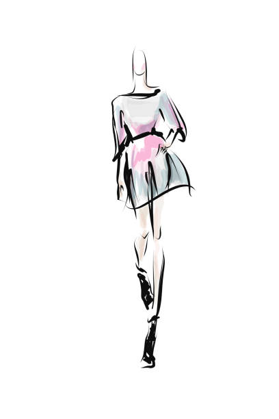 Hand-drawn fashion illustration. Young woman, girl, model Sketch, vector fashion design sketches stock illustrations