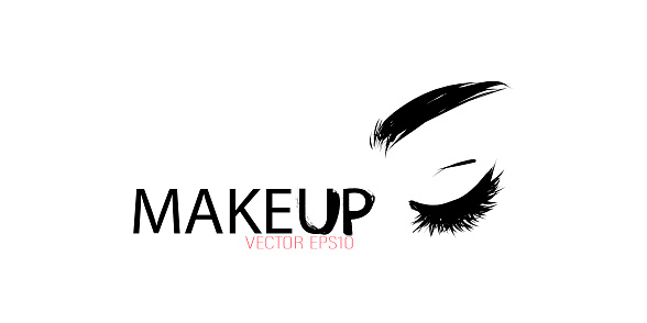 Hand-drawn female eyelashes and eyebrow. Vector template for business card