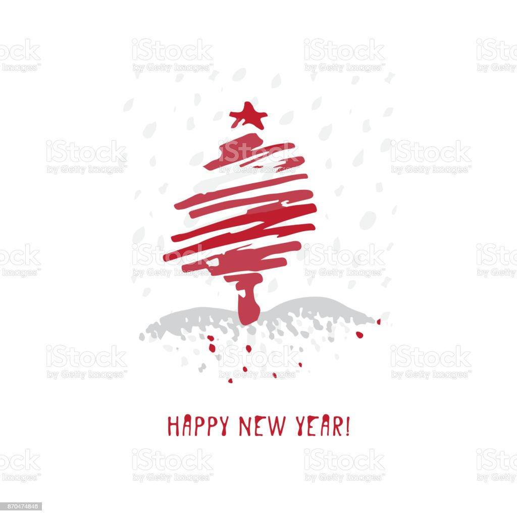 Hand-drawn festive Christmas and New Year card with holiday symbols tree and calligraphic greeting inscription vector art illustration
